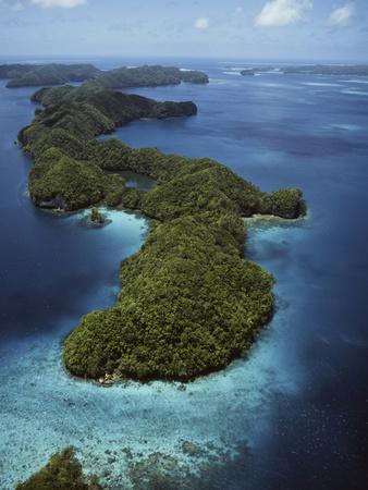 Palau, Micronesia, Aerial View of Rock Island