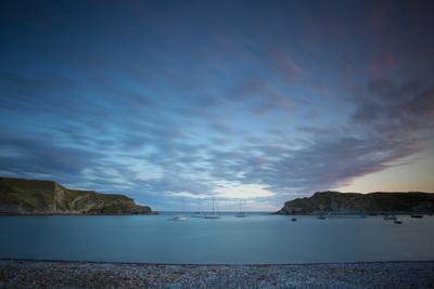 Twilight over Lulworth Cove Along the Jurassic Coast, Dorset, England