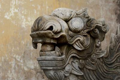 Vietnam. Stone Lion in the Entrance at Citadel, Hue, Thua Thien Hue