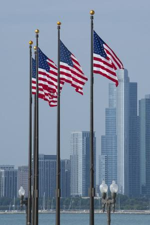 Illinois, Chicago. Navy Pier, Us Flags Flying in Front of City Skyline