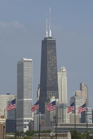 Illinois, Chicago. Navy Pier, Us Flags in Front of Chicago Skyline