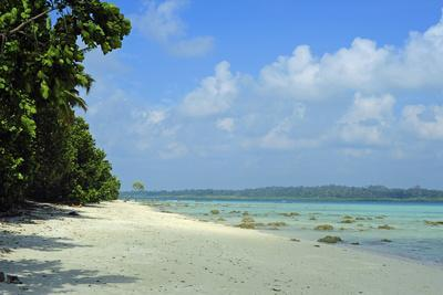 India, Andaman Islands, Havelock, White Sand Beach at Low Tide
