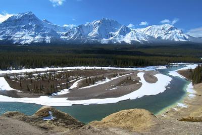 Geraldine Peak and the Athabasca River in Jasper National Park, Alberta, Canada