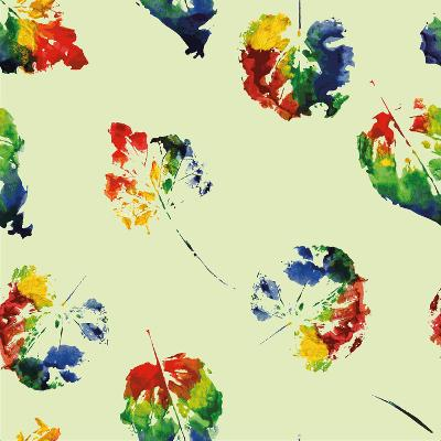 Beautiful Pattern of Colorful Leaves Rainbow Colors