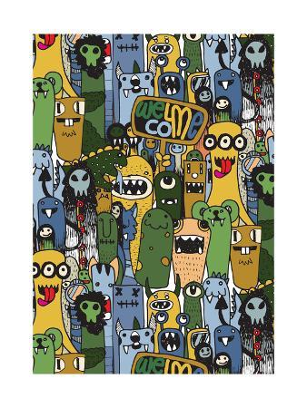 Seamless Pattern with Hand Drawn Crazy Doodle Monster City