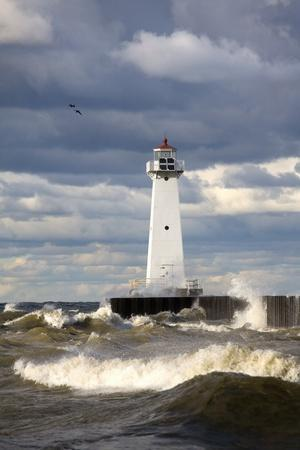 Sodus Outer Lighthouse on Stormy Lake Ontario; Sodus Point, New York, USA
