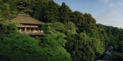 Okunion Temple on a Hillside at Kiomizu-Dera