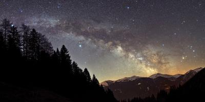 On a Starry Night the Milky Way Shows its Magnificent Beauty over Snow-Covered Austrian Alps