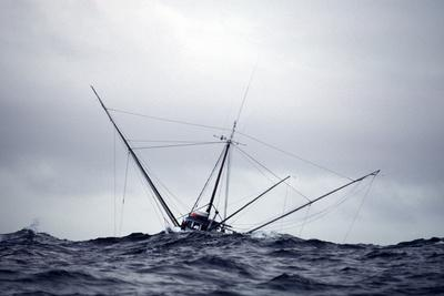 Salmon Troller Fishes in Stormy Seas During Summer in the Gulf of Alaska