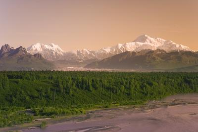 View of Mt Mckinley and the Chulitna River in the Summer Intreior Alaska