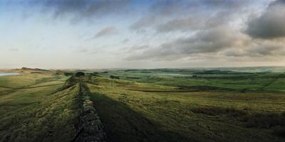 Hadrian's Wall Runs Straight across the Moor and Vanishes in the Distance