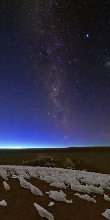 The Southern Milky Way Fades in the Morning Twilight over Ice Fields
