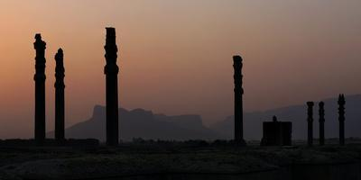 Sunset over the Columns of Apadana Palace, in Persepolis