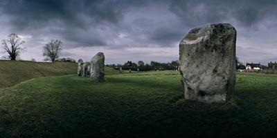 Standing Stones at Avebury with a Village Built Within Henge