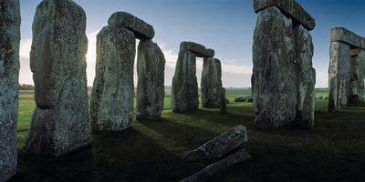 Standing Stones and Lintels of Stonehenge at Sunrise