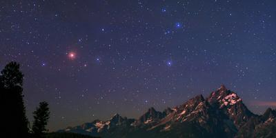 The Night Sky over the Grand Teton National Park in Wyoming, USA. Head of Constellation Scorpius