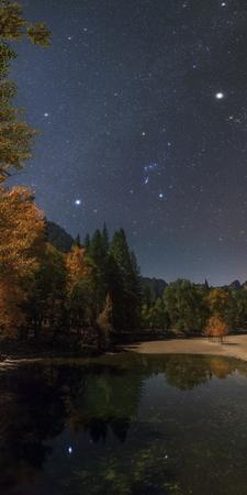 Sirius, Constellations Orion and Taurus, with Jupiter, Above the Merced River on a Moonlit Night
