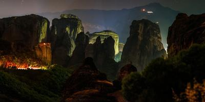 The Giant Sandstone Pillars of World Heritage Site of Meteora at Night