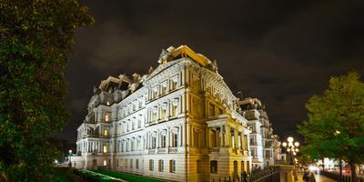 The Eisenhower Executive Office Building on a Street Corner at Night