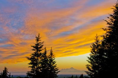 Sunset Clouds Blaze Orange over Iliamna Volcano as Seen from Hills Near Nikolaevsk, Kenai Peninsula