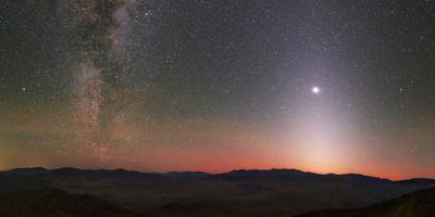 The Milky Way, Venus and Vertically Elongated Glow of Zodiacal Light Shine in the Night Sky