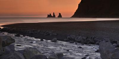 Reynisdrangar Basalt Sea Stacks, Near Vik, at Sunset