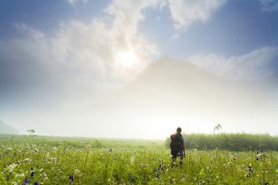 Woman Hiking on the Carter Lake Trail in Fog in the Chugach National Forest on the Kenai Peninsula