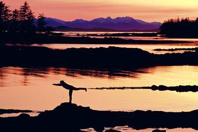 Woman Doing Yoga on a Rocky Beach, Duke Island, Southeast, Alaska
