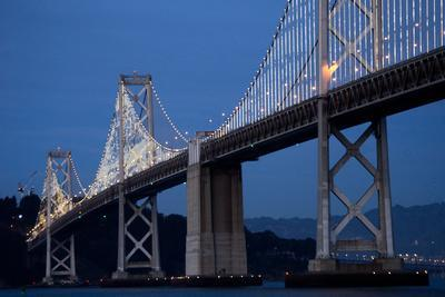 The Bay Lights Iconic Light Sculpture by Artist Leo Villareal on the San Francisco Bay Bridge