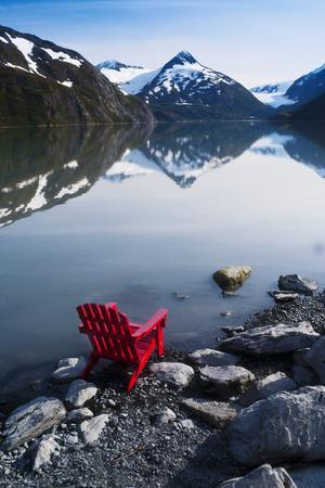 Red Adirondack Chair at Portage Lake with Chugach Mountains in the Background, Southcentral, Alaska