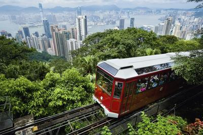 View of Peak Tram Arriving at the Top of the Victoria Peak; Victoria Peak, Hong Kong Island, China