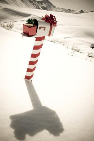 White Mailbox Decorated for Christmas Standing in the Snow Winter Hatcher Pass Southcentral Alaska
