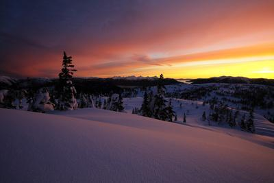 Winter Scenic at Sunset with Etolin and Woronkofski Island in the Far Background, Southeast Alaska