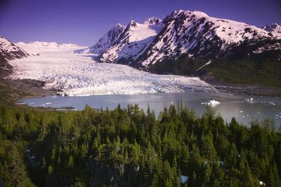 Aerial of Spencer Glacier Kenai Mountains Chugach National Forest Southcentral Alaska Summer