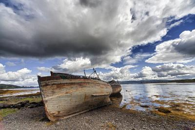 Weathered Boats Abandoned at the Water's Edge; Salem Isle of Mull Scotland
