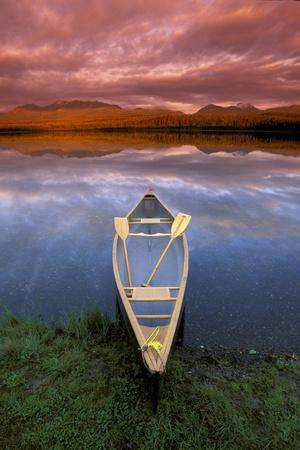 Canoe on Otter Lake Evening Light Southcentral Alaska Summer Scenic