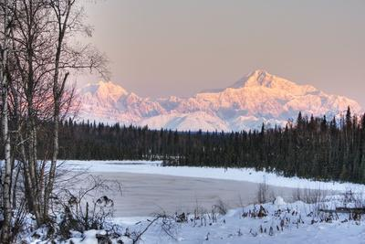 Winter Scenic of the Southside of Mt. Mckinley as Seen from South of the Denali National Park