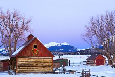 Wood Barn with Lighted Holiday Wreath and Christmas Tree on Farm at Dusk Arkansas Valley Colorado W