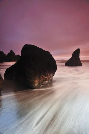 Sunset at Ruby Beach with Rock and Seastack, Olympic National Park, Washington