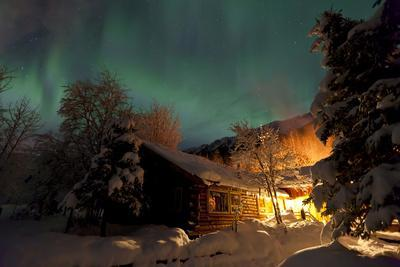 Aurora Borealis (Northern Lights) over the Eagle River Nature Center and Chugach Mountains