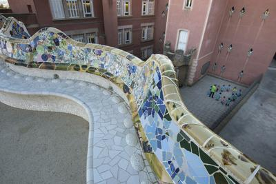 A Portion of Park Guell, Designed by Antoni Gaudi, and Overlooking Residential Apartment Buildings
