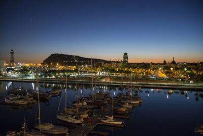 A View of Part of Barcelona's Harbor and the City Beyond