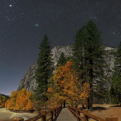 A Moonlit Scenic of a Footbridge on the Merced River, with Planet Jupiter, in Taurus Overhead