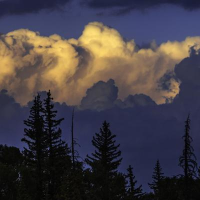 Cumulus Clouds Lit by the Setting Sun at the Grand Teton National Park