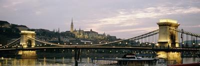 Chain Bridge, River Danube and Matyas Church at Dusk