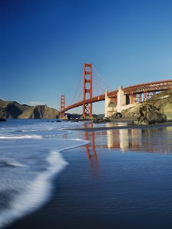 Looking Along Baker Beach Towards the Golden Gate Bridge, Blurred Motion