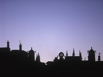Silhouette of the Front of the Jokhang Temple Shortly before Dawn