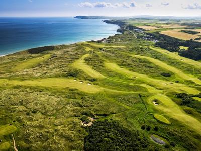Aerial of Royal Portrush Golf Club on the North Coast of Northern Ireland