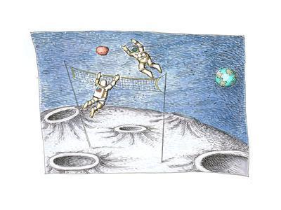 Astronaut Volleyball - Cartoon