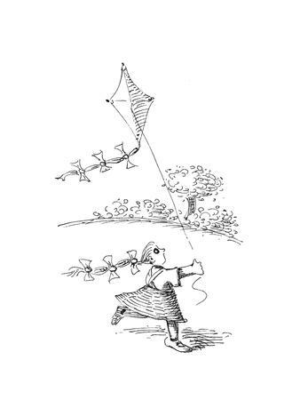 Flying Kite - Cartoon